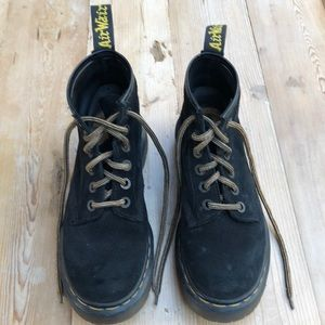Black suede Dr. Martens, vintage from 1990s